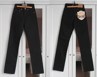 Jeans Vintage Black High Waisted Denim Pants Trousers MOTOR Unisex Women Men Classic Fit 1980s Fashion Retro W25 W26 / Extra Small size