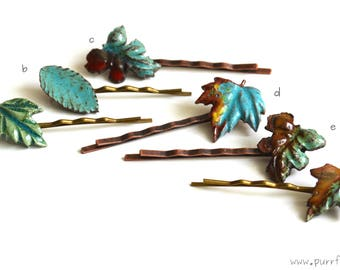 Botanical Leaf Hair Clips, Ceramic Bobby Pin, Ceramic Hair Pin, Green Leafs