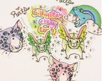 Magic rat sticker pack, iridescent stickers, rat love, unicorn, jewels, ink drawing, indie, phone case, rainbow, 70s art, cute, animal