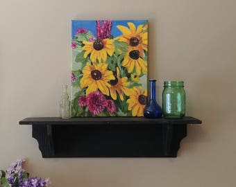 """Original Painting  Acrylic, Black Eyed Susan, Gift for Gardeners,Gift for Her,Floral Art, """"Summer Bouquet"""" by NJ artist Linda Robinson"""