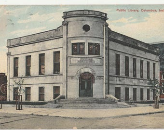Antique Vintage Postcard Public Library Columbus IN Indiana 1909 hand cancel