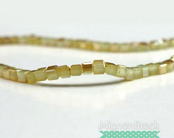 Khaki/gold glass - Pearl acrylic beads square - (Dimensions: 4 mm)