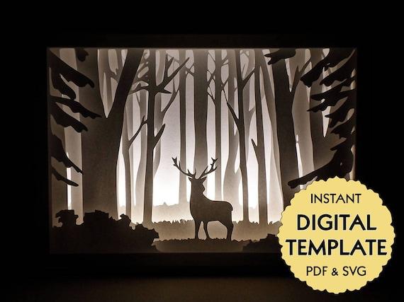 template deer in the woods paper cut file silhouette light box tutorial pdf svg digital. Black Bedroom Furniture Sets. Home Design Ideas