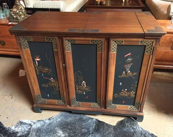 Vintage wood Japanese art hand painted hidden bar. The piece is signed by the artist