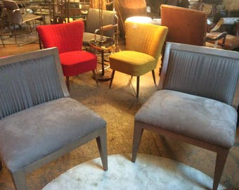 Pair of Vintage Armless Gray Velvet Chairs