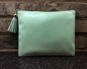 Mint Faux Leather Makeup Bag