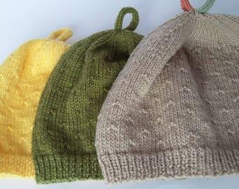 Childs Beanie handknit woollen