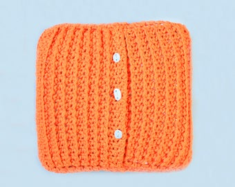Hand Knitted Orange Pillow - Chunky Crochet - Pure Cotton - 16x16 inches - Reversible Knit Cushion - Chunky Knit Throw Pillow - Twoodle Co
