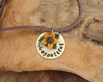 Beyoutiful necklace with a little flower charm, handstamped jewelry