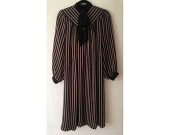 Lady Carol Striped Dress/ 70s Dress/ Ascot Dress/ Bow Dress/ Pinstripe Dress/ Sheer Dress