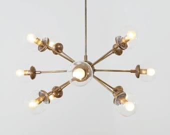Moderne Messing 12 Globus Sputnik Kronleuchter Leuchte   Sputnik Starburst  Kronleuchter