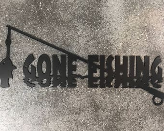 Gone Fishing Metal Sign / Fishing Sign / Birthday Present / Man Cave Sign