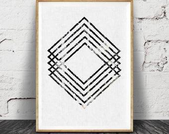Art scandinave géométrique, Triangles Art mural, rose blanc noir en marbre, imprimable, moderne minimaliste Decor, affiche grand format