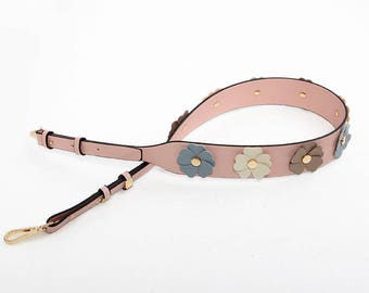 Strap You pink Leather flowers Bag Strap Genuine leather Removable Purse Strap Interchangeable Strap Replacement Handle Chain adjustable