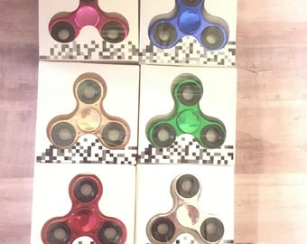 Metal Fidget Spinner, Fidget Spinner Red Gold Green Pink Silver and Blue Fidget Spinners
