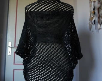 Black glitter yarn hand knitted Bolero