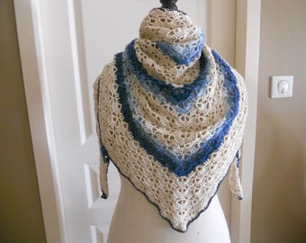 South Bay blue and beige hand made crochet shawl