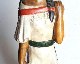 """15% Off Vintage Hand Carved Wooden Native American Indian Female Statue 20"""" Figure Teak Wood Carving And Painted Home Decor Tobacco Store"""