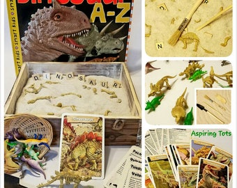 Dinosaur Fossil Dig Gift Dinosaur Small World Dino Toy Sandbox Sensory Bin Montessori Discovery Box  Dinosaur Loose Parts Preschool Writing