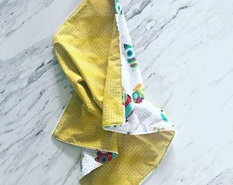 Yellow Owl Lovey Blanket | Cuddle Blanket | Security Blanket | Baby Accessories | Minky Baby Blanket | Doll Blanket | Minky Lovey |