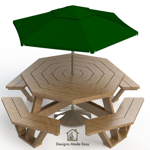 Easy diy large octagon picnic table bench woodworking design for Easy to build picnic table plans