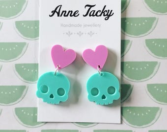 Pastel SUGARSKULL dangles turquoise and purple laser cut acrylic earrings tacky festival wear kitsch retro style
