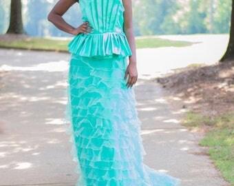 Two Piece Bustier Peplum and Skirt Dress