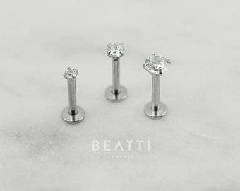 Tiny 2mm/3mm/4mm CZ stud Tragus Earring/Labret/Flat Back/Cartilage earring/Tragus stud/Internal thread/Helix/conch/Lip rings/Monroe/
