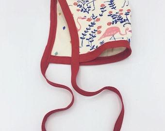 Flamingo/Diamond Reversible Jersey Bonnet