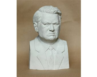 Yeltsin bust Russian politicans Russian first president Russian handmade Russian gifts Tabletop sculpture White sculpture