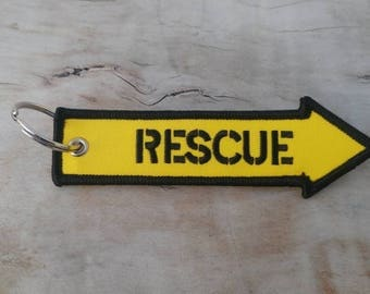 RESCUE Yellow Key Tag/Ring