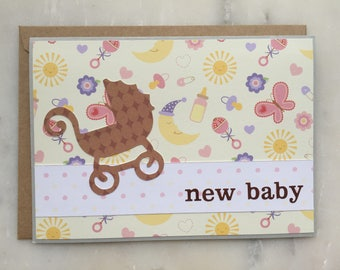 Baby Carriage Card - Baby Card, Newborn Card, Baby Shower Card, Expecting Card