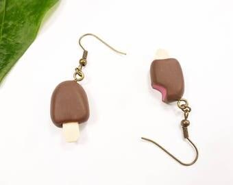 chocolate raspberry Eskimo ice cream fimo bronze vacation Beach girl gift earrings