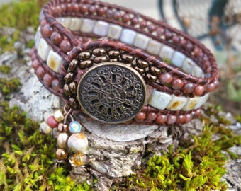 Beaded Leather Cuff, Brecciated Jasper/Tile Glass Bohemian Cuff,Byzantine Button,Leather Cuff,3 Charms,Greatest Joy Gifts,Gift for Her,