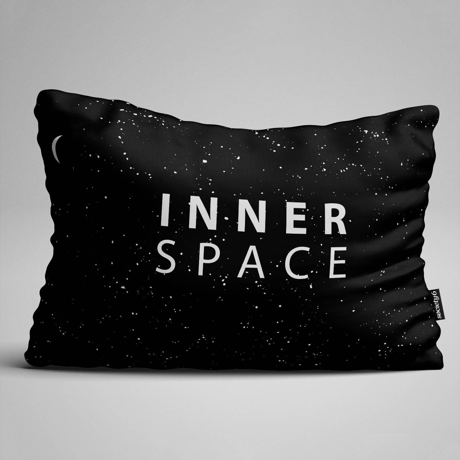 Inner Space Words Lumbar Pillow Throw Pillow Black and White