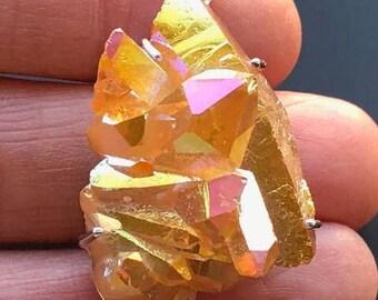 Stunning Golden Aura Sterling Silver Crystal Pendant ~ ( 14gm / 40mm )