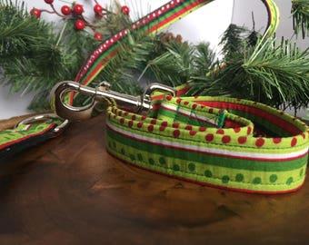 Christmas Dog Leash Christmas - Dog Leashes for Christmas - Cute Christmas Leash Red Green - Striped Christmas Dog Leash - Holiday Pet Leash