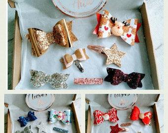 Christmas hair bows, glitter bows, hair accessories gift box, girls Christmas bows, baby girl clips, Christmas surprise box, bow box set