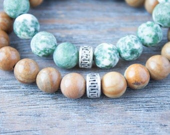 Couples Bracelets Long Distance Relationship Gift Khaki Bracelet His and Hers Mens Wood Bracelet Gay Couple Bracelets Wood Beads Bracelet