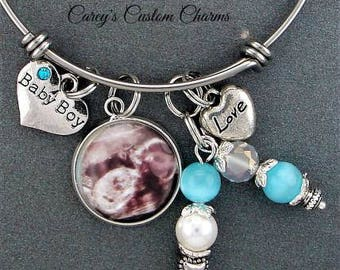 Baby Girl Baby Boy Photo Charm Bracelet, Picture Charm, Ultrasound, Sonogram, Gift For Mom Grandma, Adjustable Bangle, Mommy To Be, Infant