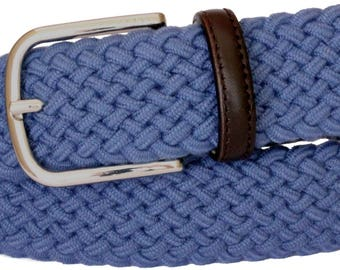 3.5 cm Elastic belt in three colors with leather trim