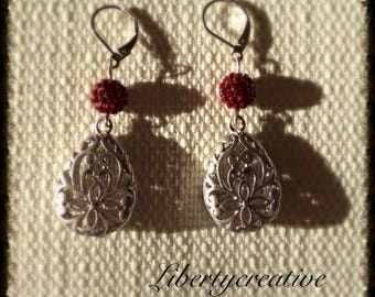 Earrings matte silver rhodium filigree Red Crystal beads