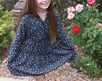 blue leaf print button down collared dress