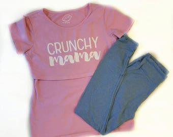 Crunch Mama Breastfeeding shirt, New Nursing Shirt, Nursing tops for breastfeeding, Pregnancy Tee, Maternity Clothes, T Shirt