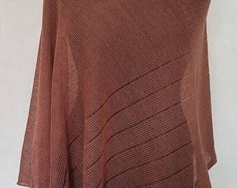 Bright brown poncho, linen poncho, summer poncho, knit poncho, knit cape, linen cape, brown cape, linen shawl, brown shawl, linen shawl
