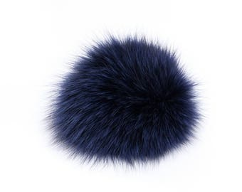 Handmade blue fox fur pom pom