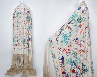 1920s Ivory Silk Piano Shawl with Unusual Oriental Building and Bird Motifs