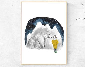 Watercolor bear, Art Print,  Watercolor Print, Painting, bear Illustration, Mountain Print, Wall Art,  Stars, Watercolor Mountain