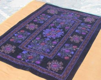 Black Velvet Suzani,Wall Hanging Velvet Suzani,Black Suzani,Regional Textile Cover,6'1 feet x 4'3 feet ,n:93