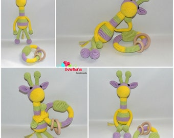 Giraffe, crochettoy, stuffedtoy, amigurumi, crochet, gift, newborn gift, rattle